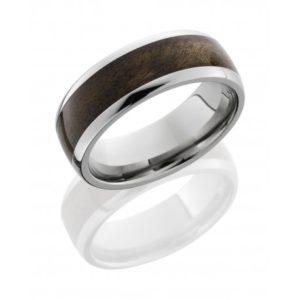 hw8d15canxanburl polish - Titanium Domed Band with Canxan Burl Wood Inlay