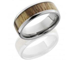 hw8d15tamarind polish - Titanium Domed Band with Spalted Tamarind Wood Inlay