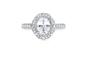 S10187 - Oval Scallop Halo Engagement Ring