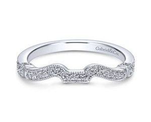 Gabriel 14k White Gold Contemporary Curved Wedding BandWB7531W44JJ 11 - 14k Round Curved Diamond Wedding Band