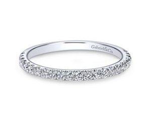 Gabriel 14k White Gold Contemporary Straight Wedding BandWB7225W44JJ 11 - Round Straight Diamond Wedding Band