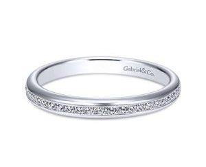 Gabriel 14k White Gold Contemporary Straight Wedding BandWB7229W44JJ 11 - 14k White Gold Round Bypass Diamond Engagement Ring