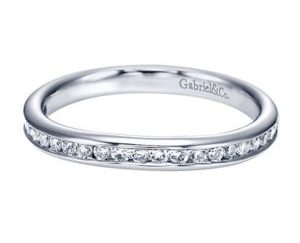 Gabriel 14k White Gold Contemporary Straight Wedding BandWB7516W44JJ 11 - 14k Round Solitaire Engagement Ring