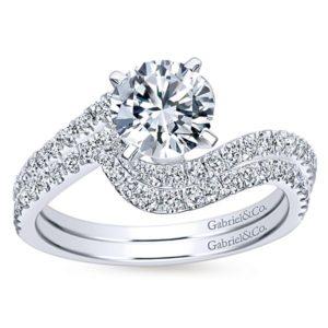 Gabriel Adina 14k White Gold Round Bypass Engagement RingER7232W44JJ 41 - 14k White Gold Round Bypass Diamond Engagement Ring