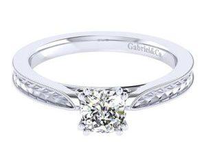 Gabriel Cora 14k White Gold Cushion Cut Straight Engagement RingER7223C4W4JJJ 11 - 14k White Gold Cushion Cut Straight Engagement Ring