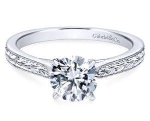 Gabriel Cora 14k White Gold Round Solitaire Engagement RingER7223W4JJJ 11 - Vintage 14k White Gold Round Solitaire Engagement Ring