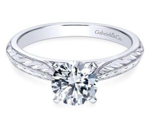 Gabriel Della 14k White Gold Round Solitaire Engagement RingER6707W4JJJ 11 - Vintage 14k White Gold Round Straight Diamond Wedding Band