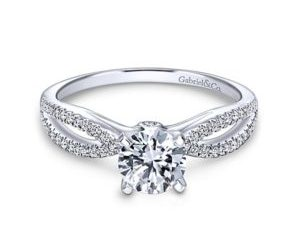 Gabriel Elyse 14k White Gold Round Split Shank Engagement RingER8129W44JJ 11 - 14k White Gold Round Split Shank Diamond Engagement Ring