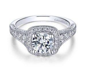 Gabriel Florence 14k White Gold Round Halo Engagement RingER7293W44JJ 11 - Vintage 14k White Gold Round Halo Diamond Engagement Ring
