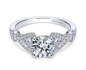 Gabriel Lucille 14k White Gold Round Straight Engagement RingER7531W44JJ 11 - Vintage 14k Round Straight Diamond Engagement Ring