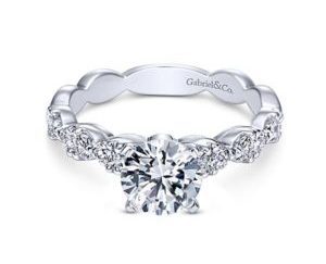 Gabriel Rowan 14k White Gold Round Straight Engagement RingER3990W44JJ 11 - 14k White Gold Round Straight Diamond Engagement Ring