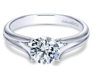 Gabriel Selah 14k White Gold Round Solitaire Engagement RingER7516W4JJJ 11 - 14k Round Solitaire Engagement Ring