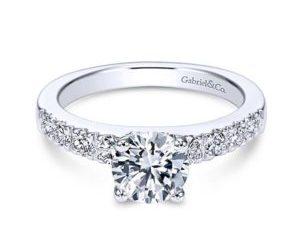 Gabriel Wyatt 14k White Gold Round Straight Engagement RingER3950W44JJ 11 1 - 14k White Gold Round Bypass Diamond Engagement Ring