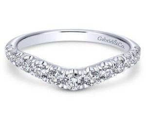 Gabriel 14k White Gold Contemporary Curved Anniversary BandAN10958W44JJ 11 - 14k White Gold Round Fancy Diamond Anniversary Band