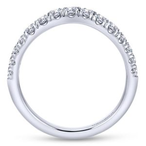 Gabriel 14k White Gold Contemporary Curved Anniversary BandAN10958W44JJ 21 - 14k White Gold Round Curved Diamond Anniversary Band