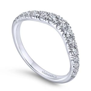 Gabriel 14k White Gold Contemporary Curved Anniversary BandAN10958W44JJ 31 - 14k White Gold Round Curved Diamond Anniversary Band