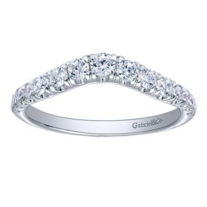 Gabriel 14k White Gold Contemporary Curved Anniversary BandAN10958W44JJ 41 - 14k White Gold Round Curved Diamond Anniversary Band