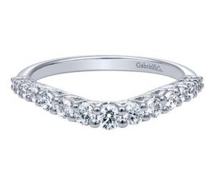 Gabriel 14k White Gold Contemporary Curved Anniversary BandAN10959W44JJ 11 - 14k White Gold Round Curved Diamond Anniversary Band
