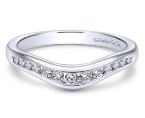 Gabriel 14k White Gold Contemporary Curved Anniversary BandAN10962W44JJ 11 - 14k White Gold Round Curved Diamond Anniversary Band