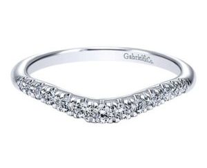Gabriel 14k White Gold Contemporary Curved Anniversary BandAN10963W44JJ 11 - 14k White Gold Round Curved Diamond Anniversary Band