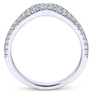 Gabriel 14k White Gold Contemporary Curved Anniversary BandAN11004W44JJ 21 - 14k White Gold Round Curved Diamond Anniversary Band