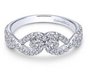 Gabriel 14k White Gold Contemporary Curved Anniversary BandAN11008W44JJ 11 - 14k White Gold Round Curved Diamond Anniversary Band