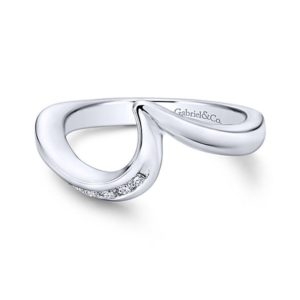 Gabriel 14k White Gold Contemporary Curved Wedding BandWB4309W44JJ 11 - 14k White Gold Curved Diamond Wedding Band