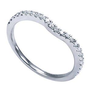 Gabriel 14k White Gold Contemporary Curved Wedding BandWB5375W44JJ 31 - 14k White Gold Round Curved Diamond Wedding Band