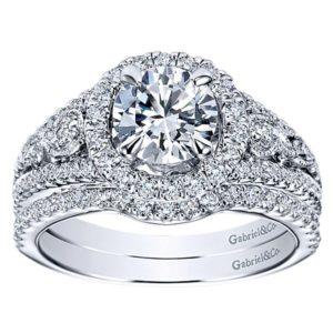 Gabriel 14k White Gold Contemporary Curved Wedding BandWB5375W44JJ 41 - 14k White Gold Round Curved Diamond Wedding Band