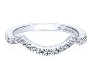 Gabriel 14k White Gold Contemporary Curved Wedding BandWB5798W44JJ 11 - 14k White Gold Round Curved Diamond Wedding Band