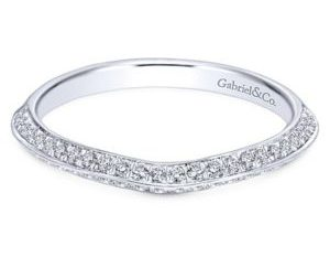 Gabriel 14k White Gold Contemporary Curved Wedding BandWB6286W44JJ 11 - 14k White Gold Curved Diamond Wedding Band