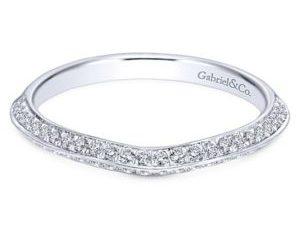 Gabriel 14k White Gold Contemporary Curved Wedding BandWB6286W44JJ 11 - 14k White Gold Round Split Shank Diamond Engagement Ring