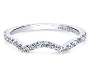 Gabriel 14k White Gold Contemporary Curved Wedding BandWB7546W44JJ 11 - 14k White Gold Round Curved Diamond Wedding Band