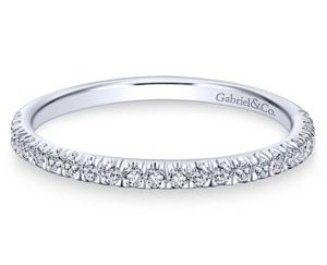 Gabriel 14k White Gold Contemporary Straight Wedding BandWB7252W44JJ 11 - 14k White Gold Round Straight Diamond Wedding Band