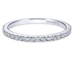 Gabriel 14k White Gold Contemporary Straight Wedding BandWB7480W44JJ 11 - 14k White Gold Round Straight Diamond Wedding Band