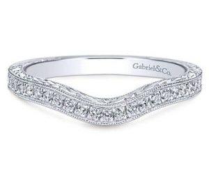 Gabriel 14k White Gold Victorian Curved Wedding BandWB8794W44JJ 11 - Vintage 14k White Gold Round Curved Diamond Wedding Band