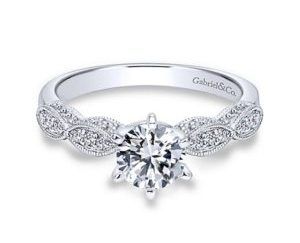 Gabriel Clara 14k White Gold Round Straight Engagement RingER3848W44JJ 11 - Vintage 14k White Gold Round Straight Diamond Engagement Ring