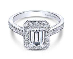 Gabriel Corinne 14k White Gold Emerald Cut Halo Engagement RingER7528W44JJ 11 - Vintage 14k White Gold Emerald Cut Halo Diamond Engagement Ring