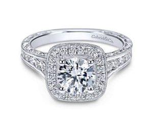 Gabriel Elaine 14k White Gold Round Halo Engagement RingER8794W44JJ 11 - Vintage 14k White Gold Round Halo Diamond Engagement Ring
