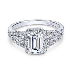 Gabriel Marlena 14k White Gold Emerald Cut Halo Engagement RingER7740W44JJ 13 - 14k White Gold Emerald Cut Halo Diamond Engagement Ring