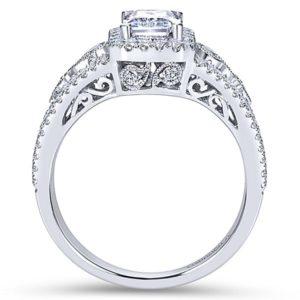 Gabriel Marlena 14k White Gold Emerald Cut Halo Engagement RingER7740W44JJ 21 - 14k White Gold Emerald Cut Halo Diamond Engagement Ring