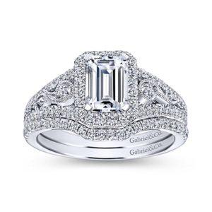 Gabriel Marlena 14k White Gold Emerald Cut Halo Engagement RingER7740W44JJ 41 - 14k White Gold Emerald Cut Halo Diamond Engagement Ring
