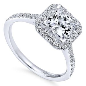 Gabriel Patience 14k White Gold Princess Cut Halo Engagement RingER7266W44JJ 31 - 14k White Gold Princess Cut Halo Diamond Engagement Ring