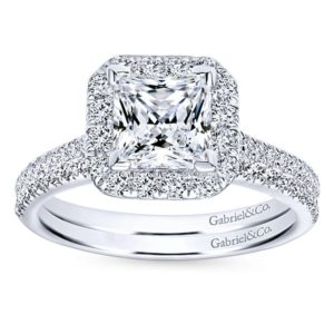 Gabriel Patience 14k White Gold Princess Cut Halo Engagement RingER7266W44JJ 41 - 14k White Gold Princess Cut Halo Diamond Engagement Ring
