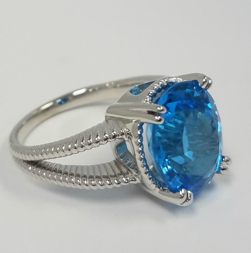 Oval Blue Topaz Ring