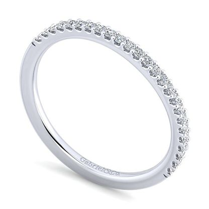 Gabriel 14k White Gold Contemporary Curved Wedding BandWB7277R5W44JJ 31 1 - 14k White Gold Curved Diamond Wedding Band