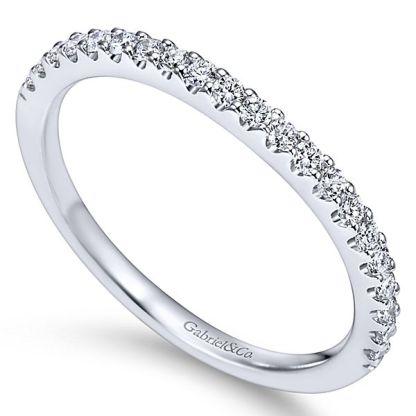 Gabriel 14k White Gold Contemporary Curved Wedding BandWB7482W44JJ 31 - 14k White Gold Curved Diamond