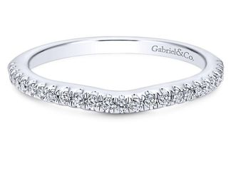 Gabriel 14k White Gold Contemporary Curved Wedding BandWB8152W44JJ 11 - 14k White Gold Round Curved Diamond