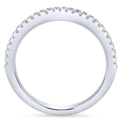 Gabriel 14k White Gold Contemporary Curved Wedding BandWB8152W44JJ 21 - 14k White Gold Round Curved Diamond