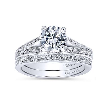 Gabriel 14k White Gold Contemporary Straight Wedding BandWB6389W44JJ 41 - 14k White Gold Straight Diamond Wedding Band